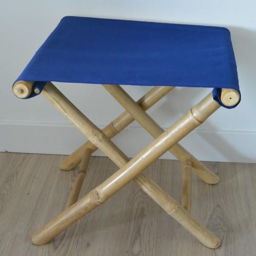 Tabouret en bambou bleu